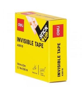 Banda adeziva invisible, 18 mm x 33 m, cutie carton, DELI