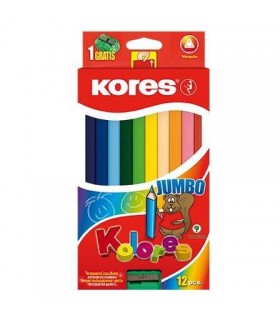 Creioane colorate triunghiulare Jumbo cu ascutitoare KORES