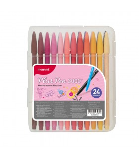 Set liner 24 culori Plus Pen 3000, varf de 0.4 MONAMI