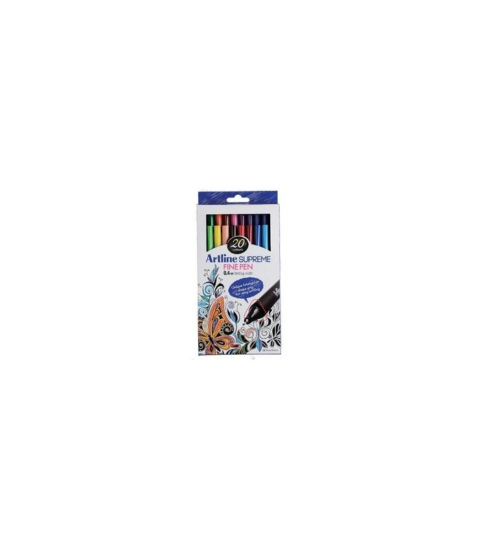 Liner ARTLINE Supreme, varf fetru 0.4mm - set 20 culori