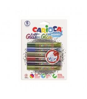 Lipici Glitter 6 culori x 10.5 ml diverse modele CARIOCA