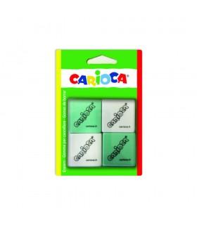 Radiere patrate, 4 buc/blister, alb/verde CARIOCA