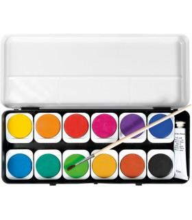 Acuarele 12 culori detasabile + pensula + tub alb EBERHARD FABER