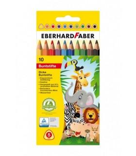 Creioane colorate 10 culori din plastic, jumbo EBERHARD FABER