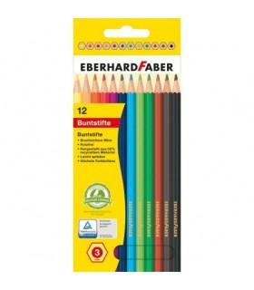 Creioane colorate 12 culori din plastic EBERHARD FABER