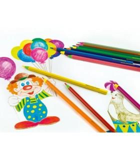 Creioane colorate plastic 12 culori, corp color EBERHARD FABER