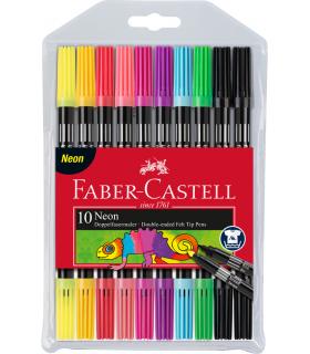 Carioca 10 culori neon 2 capete FABER-CASTELL