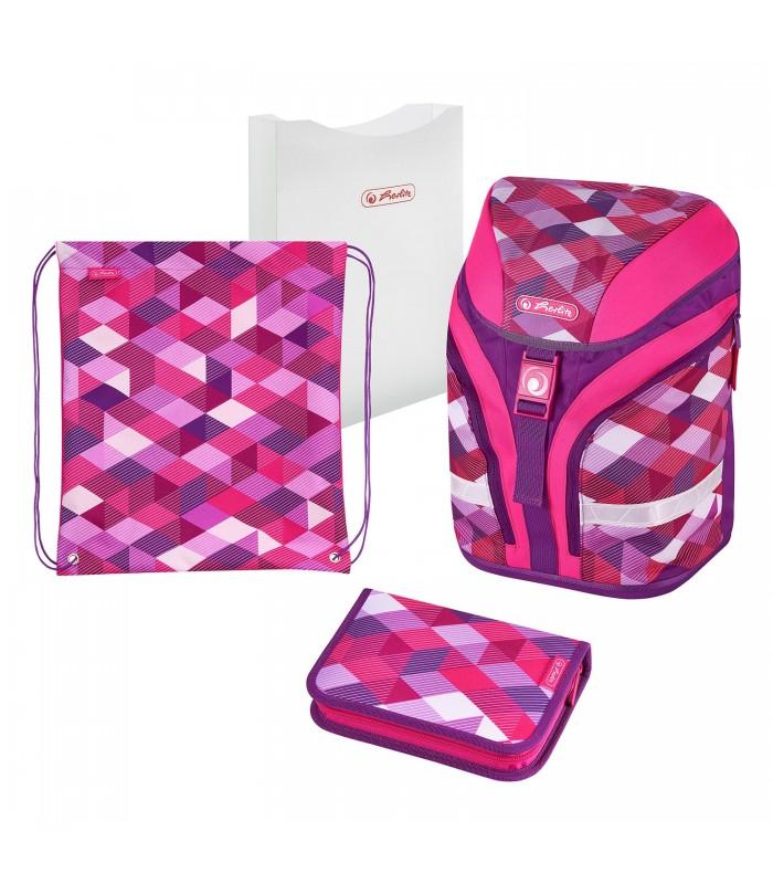 Ghiozdan ergonomic echipat motiv Motion Plus Pink Cubes HERLITZ