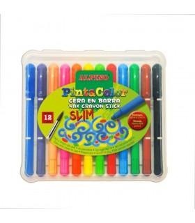Creioane cerate subtiri 12 culori/cutie ALPINO PintaColor slim