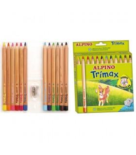 Creioane colorate triunghiulare 12 culori/set Trimax Jumbo ALPINO