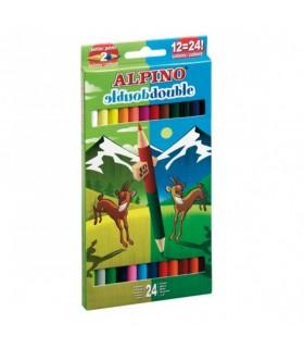 Creioane colorate bicolore 12 buc/24 culori/set ALPINO Double Double