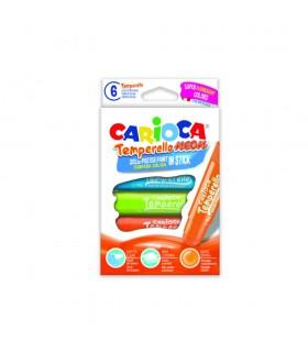 Creioane tempera fluorescente lavabile 6 culori/cutie CARIOCA Temperello neon