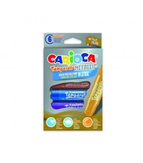 Creioane tempera metalizate lavabile 6 culori/cutie CARIOCA Temperello Metallic