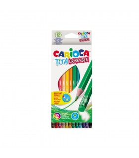 Creioane colorate flexibile hexagonale tita erasable CARIOCA