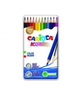 Creioane colorate acuarela hexagonale 12 culori/cutie metalica CARIOCA Acquarell