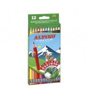 Creioane colorate cu guma de sters, cutie carton, ALPINO Erasable