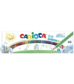 Creioane colorate hexagonale flexibile 50 culori/cutie tita rainbow Set CARIOCA
