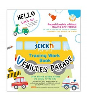 Carte educativa Vehicles Parade, Tracing Work Book STICK'N