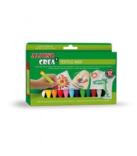 Set 12 creioane cerate pentru textile Crea+ ALPINO