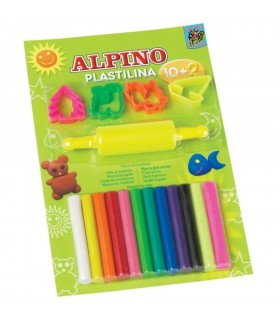 Kit plastilina 12 culori + 4 forme modelaj + roller ALPINO