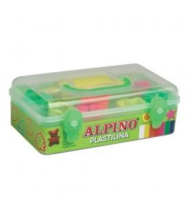 Kit plastilina 7 culori x 90 gr. + 7 forme modelaj + roller ALPINO