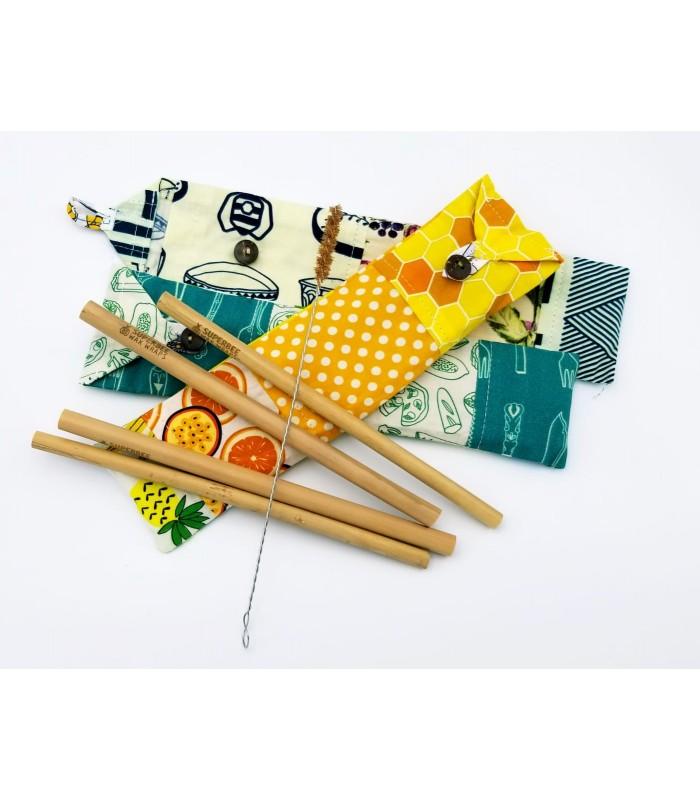Set de 4 paie bambus cu perie in saculet SuperBee