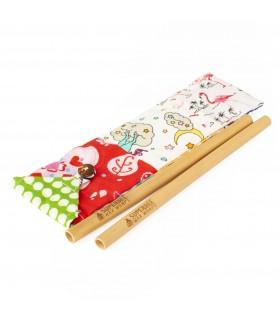 Paie bambus pentru bauturi set 2 bucati SuperBee