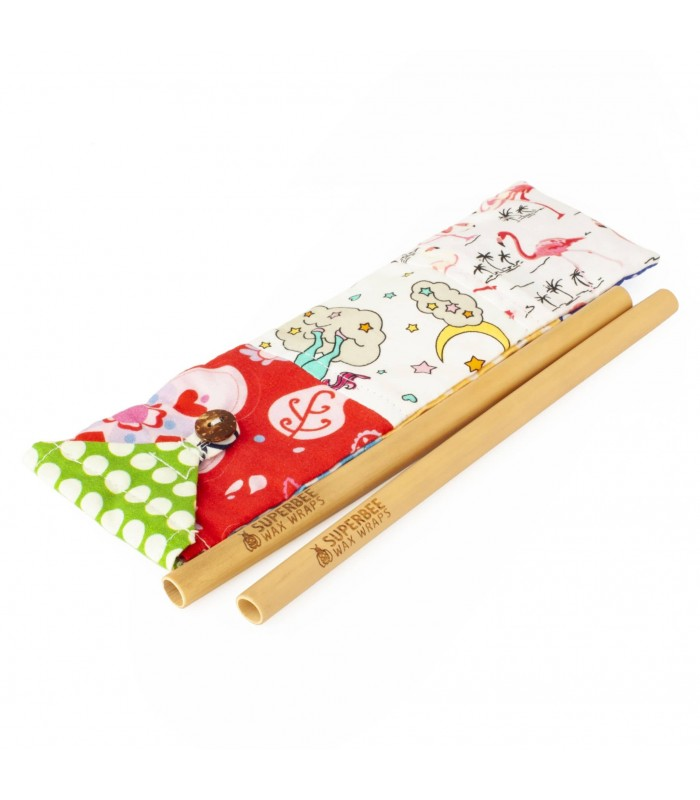 Pai bambus pentru bauturi set 2 bucati SuperBee