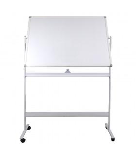 Tabla alba magnetica, fata dubla, rotativa, 120 x 180 cm, pe stand mobil, profil aluminiu, OPTIMA