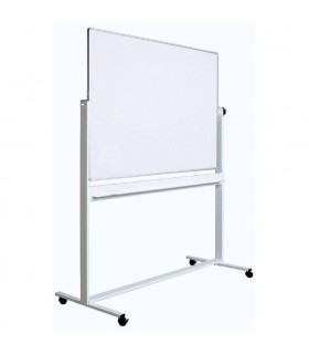 Tabla alba magnetica, fata dubla, rotativa, 100 x 150 cm, pe stand mobil, profil aluminiu, OPTIMA