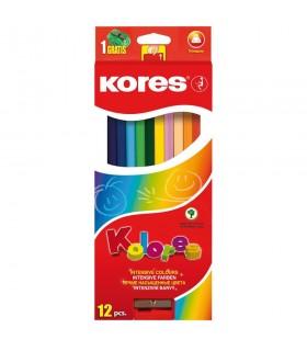 Creioane colorate triunghiulare cu ascutitoare KORES