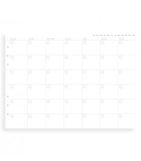 Rezerva hartie FILOFAX lunara, 12 buc/set A5 nedatata compatibila agenda si Clipbook Filofax
