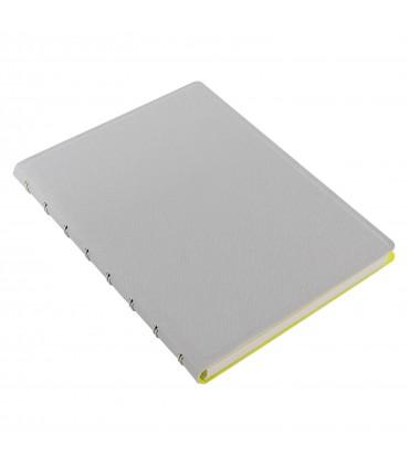 Caiet multifunctional Notebook Saffiano Fluoro cu spirala si rezerve A5 Grey/Fluro Yellow, FILOFAX
