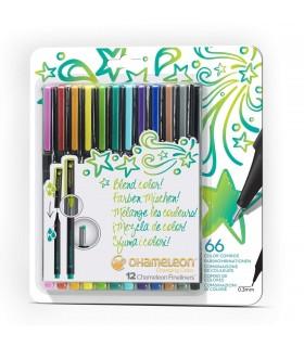 Fineliner cu tonuri multiple de culoare Bright, 12/set, CHAMELEON