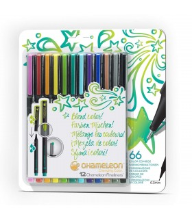Set 12 fineliner cu schimbare tonalitate Bright CHAMELEON