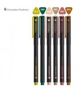 Set 6 fineliner cu schimbare culoare Nature CHAMELEON