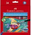 Creioane colorate acuarela cu pensula FABER-CASTELL