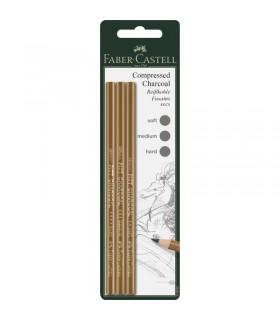 Creion carbune presat Pitt Monochrome S,M,H 3 buc/set FABER CASTELL
