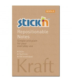 Notes adeziv 76 x 51 mm, 100 file, kraft STICK'N