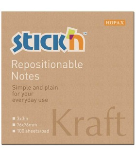 Notes adeziv 76 x 76 mm, 100 file, kraft STICK'N