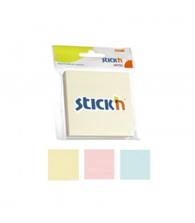 Notes adeziv 76 x 76 mm, 150 file, 3 culori pastel STICK'N