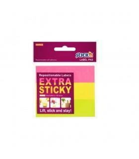 Etichete autoadezive extra-sticky 25 x 88 mm, 3 culori x 30 file, STICK'N