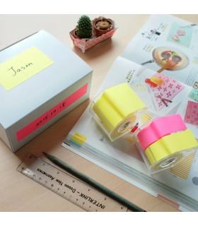 Notes adeziv 25 mm x 10 m, in rola, cu dispenser, 2 culori neon, STICK'N