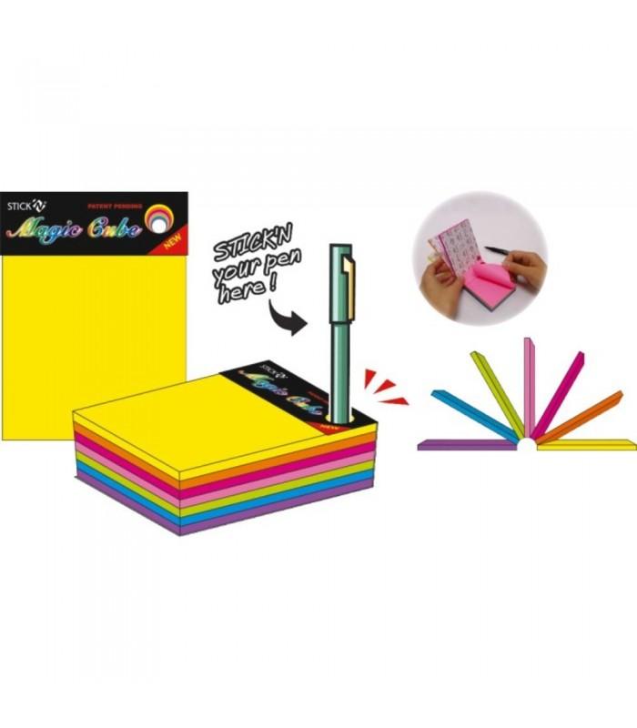 Notes adeziv 76 x 101 mm, 280 file, 7 culori neon, Magic Cube STICK'N