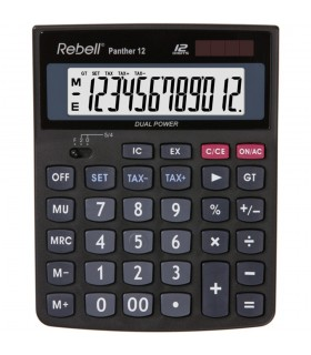 Calculator de birou, 12 digits, negru, Panther 12, REBELL