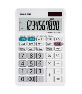 Calculator de birou, 10 digits, dual power, alb, EL-330W SHARP