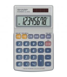 Calculator de buzunar 8 digits dual power capac plastic gri EL-250S SHARP