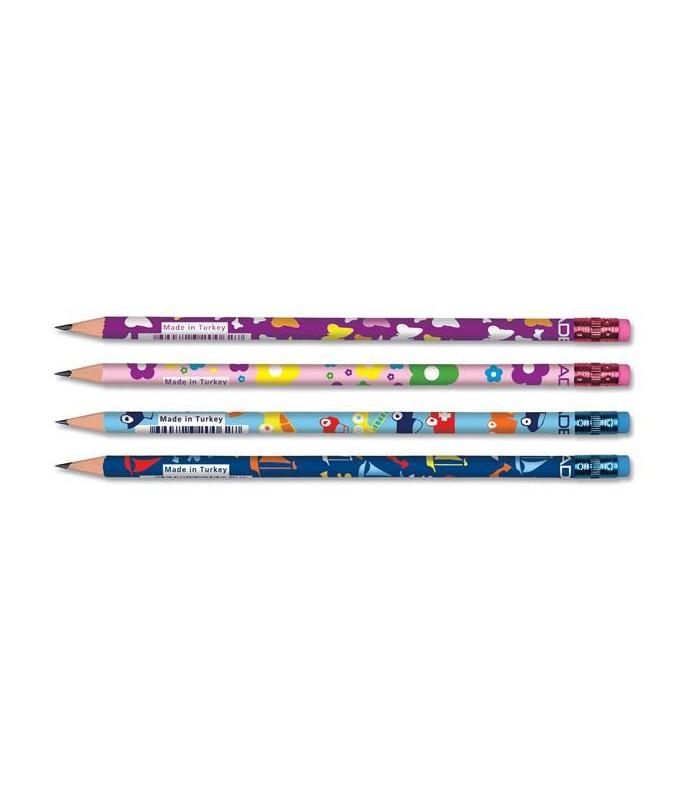 Creion grafit cu modele jucause si guma, duritate HB Kids ADEL