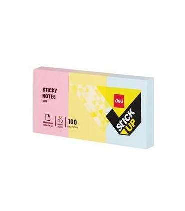 Notes adeziv 3 x 38 x 51 mm, 3 culori pastel, 100 file DELI