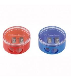 Ascutitoare plastic dubla cu container Twist Off Rosie/Albastra FABER-CASTELL